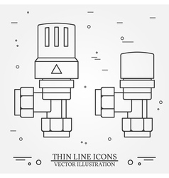 Radiator Valves icons thin line for web and mobile vector image