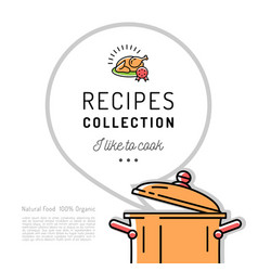 Recipe book menu template cookbook cover boiling vector