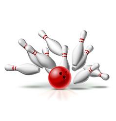 red bowling ball crashing into pins vector image