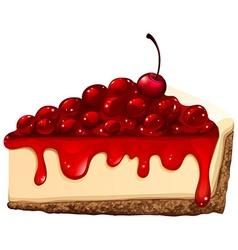 Red cherry cheesecake vector