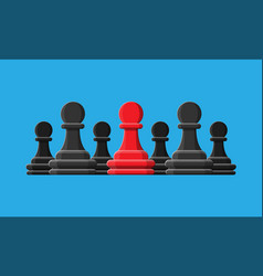 Red unique chess pawn standing among gray ones vector