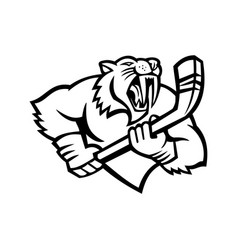 Saber toothed cat holding ice hockey stick mascot vector