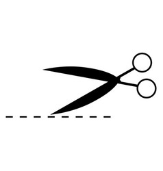 Scissor with cut line the black color icon vector