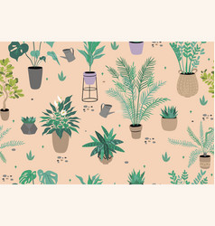 seamless pattern with indoor plants vector image