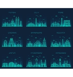 Set Indian skylines Mumbai Delhi Jaipur Kolkata vector
