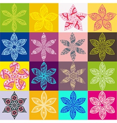 Set of four colorful floral patternsCopy square to vector image