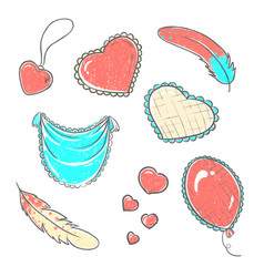 set of hand drawn hearts in vector image