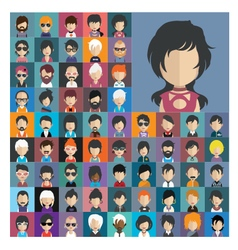 Set of people icons in flat style with faces 16 a vector image