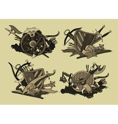 Set of shields medieval vector