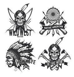 set of vintage native american emblems vector image