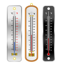 set realistic mercury thermometer isolated vector image