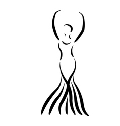 Sketched dancing girl in a long dress isolated vector image