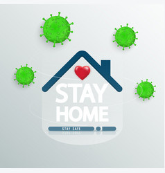 stay at home text under house roof with heart vector image