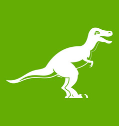 Theropod dinosaur icon green vector