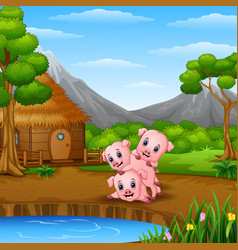 Three little pigs are playing beside lake vector