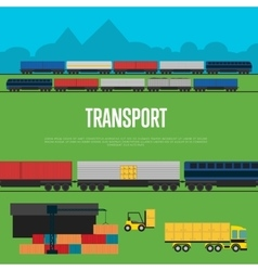 Transport banner with freight train vector
