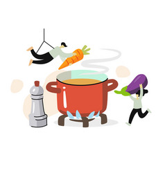 two people make vegetable soup process cooking vector image