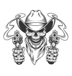 vintage cowboy skull in neck scarf vector image