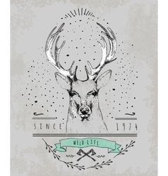 Vintage Dear logo Design for t-shirt vector