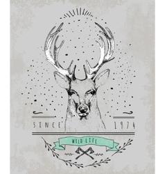 vintage dear logo design for t-shirt vector image
