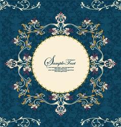 vintage floral frame on damask background vector image