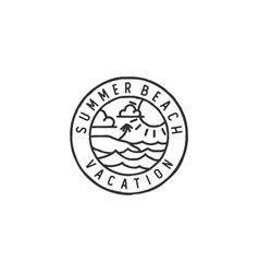 vintage hipster retro sea ocean beach badge stamp vector image