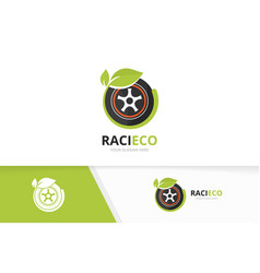 wheel and leaf logo combination tire and vector image