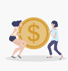 womans teamwork concept with coin vector image