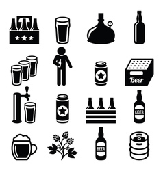 Beer brewery pub icons set vector image vector image