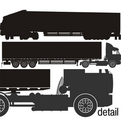 cargo semi-truck silhouettes vector image vector image
