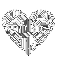 computer heart with motherboard vector image vector image