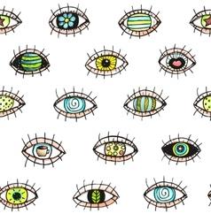 Eyes looking hand drawn seamless pattern vector image vector image