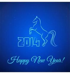 Happy New Year 2014 Illuminated Neon Horse vector image vector image