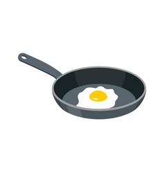 omelette in frying pan fried egg for breakfast vector image