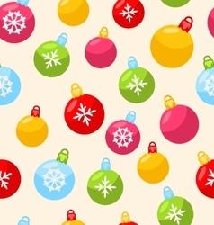 Seamless Christmas pattern with xmas ball vector image
