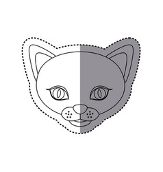sticker shading silhouette picture face cute cat vector image vector image
