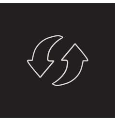 Two circular arrows sketch icon vector image