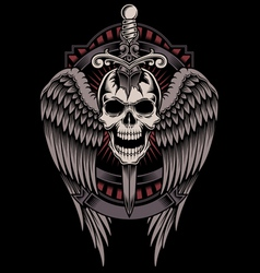 Winged Skull With Sword Stuck vector image vector image