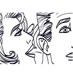 woman whispering in mans ear drawing vector image