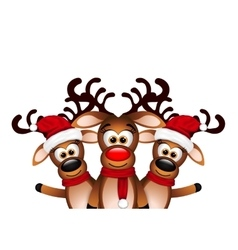 Christmas card with three happy reindeer vector