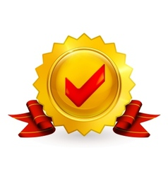 Golden emblem with check mark vector image vector image
