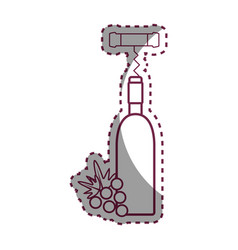 Silhouette wine bottle with grape fruit and vector
