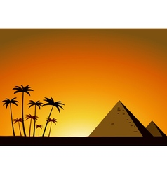 Summer sunset with pyramids vector image