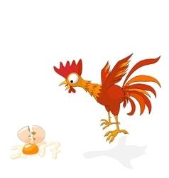 Cartoon rooster in shock vector