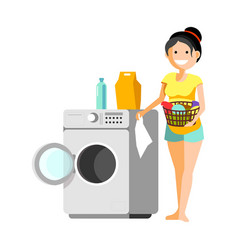 cheerful woman putting clothes to washer vector image vector image
