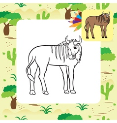 gnu coloring page vector image vector image