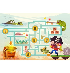 Pirate try to find the treasure in the sea vector image