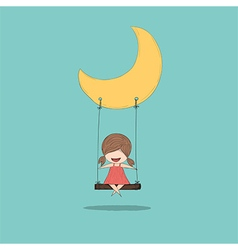 Cartoon girl swinging vector image