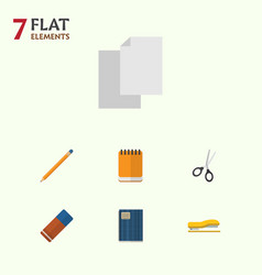 flat icon equipment set of notepaper clippers vector image