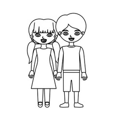 Sketch silhouette couple children with taken hands vector